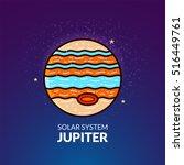 Outer planet Jupiter, Solar System object, vector illustration in outline style