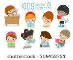 cute kids reading books on... | Shutterstock .eps vector #516453721