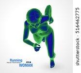 3d running woman  green and... | Shutterstock .eps vector #516462775