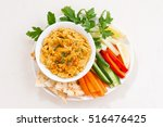 traditional sauce hummus with... | Shutterstock . vector #516476425