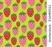 simple strawberry seamless... | Shutterstock .eps vector #516485011
