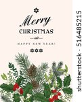 greeting christmas card in... | Shutterstock .eps vector #516485215