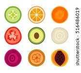 collection of vector fruit... | Shutterstock .eps vector #516486019
