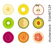 collection of vector fruit... | Shutterstock .eps vector #516487129