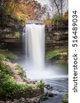 this is the minnehaha falls in... | Shutterstock . vector #516489034