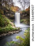 this is the minnehaha falls in... | Shutterstock . vector #516489037