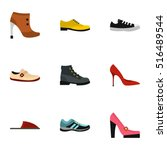 types of shoes icons set. flat... | Shutterstock .eps vector #516489544