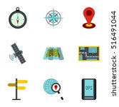gps icons set. flat... | Shutterstock .eps vector #516491044