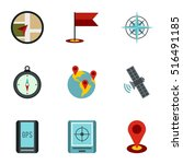 navigation icons set. flat... | Shutterstock .eps vector #516491185