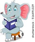 funny elephant cartoon sitting... | Shutterstock .eps vector #516491329