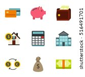 cash home budget money icons... | Shutterstock .eps vector #516491701