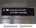 canada arrivals sign | Shutterstock . vector #516492451