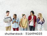 diversity students friends... | Shutterstock . vector #516494035