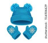 blue hat and mitten set winter...   Shutterstock .eps vector #516506629