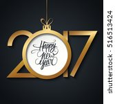 2017 happy new year greeting... | Shutterstock .eps vector #516513424