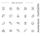 bakery flat icon set.... | Shutterstock .eps vector #516526594