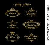 golden calligraphic vignettes... | Shutterstock .eps vector #516534061