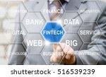 businessman touched fintech... | Shutterstock . vector #516539239