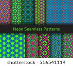 neon seamless patterns.... | Shutterstock .eps vector #516541114