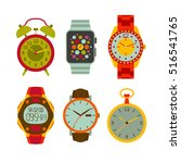 watches flat set. colorful... | Shutterstock .eps vector #516541765