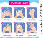 dirty hands washing properly... | Shutterstock .eps vector #516547009