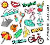 fashion girls badges  patches ...   Shutterstock .eps vector #516561355