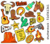 wild west texas western badges  ... | Shutterstock .eps vector #516561361