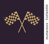 the checkered flag icon. finish ... | Shutterstock . vector #516563404
