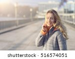 happy woman with a lovely smile ... | Shutterstock . vector #516574051