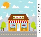fast food restaurant building... | Shutterstock .eps vector #516581011