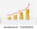 increasing piles of gold coins... | Shutterstock . vector #516582835