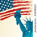 A Grunge American Flag With Th...