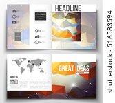set of square design brochure... | Shutterstock .eps vector #516583594
