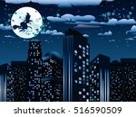 halloween background with witch ... | Shutterstock .eps vector #516590509