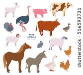 farmer animals vector... | Shutterstock .eps vector #516593731