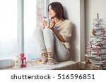 happy beautiful woman drinking... | Shutterstock . vector #516596851