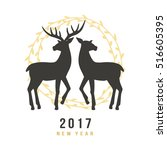 new year 2017 greeting card... | Shutterstock .eps vector #516605395