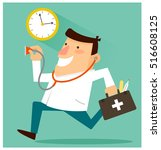 happy doctor ready to treat... | Shutterstock .eps vector #516608125