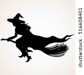 witch. silhouette. flying witch | Shutterstock .eps vector #516608401
