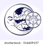 vintage hand drawn moon  sun... | Shutterstock .eps vector #516609157
