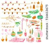 set of christmas decorations.... | Shutterstock . vector #516613675