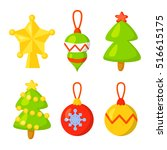 christmas icon set collection... | Shutterstock .eps vector #516615175