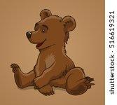 sitting little baby bear brown... | Shutterstock .eps vector #516619321