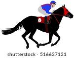 jockey riding race horse... | Shutterstock .eps vector #516627121