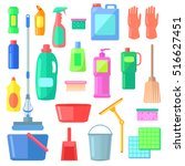 cleaning. different icons of... | Shutterstock .eps vector #516627451