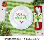 christmas dinner table place... | Shutterstock .eps vector #516633379