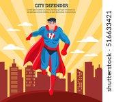 city defender flat vector... | Shutterstock .eps vector #516633421