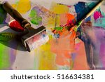 close up of a brush and a... | Shutterstock . vector #516634381