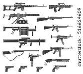 flat design weapons guns rifles ... | Shutterstock .eps vector #516634609