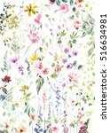 Stock photo hand painted watercolor flowers and plants on white background 516634981